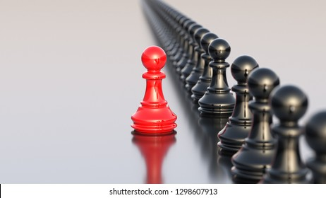 Führungskonzept, rote Schachfigur, die sich von der Masse der Schwarzen abhebt. 3D-Rendering