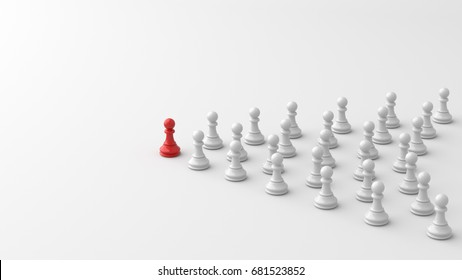 Leadership concept, red pawn of chess, standing out from the crowd of whites. 3D Rendering