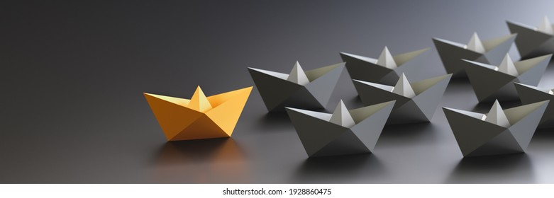 Leadership concept, yellow leader boat leading black boats, on black background with empty copy space on left side. 3D Rendering