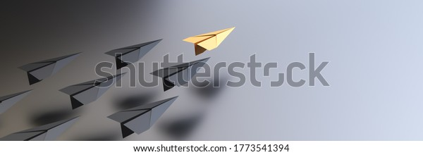 Leadership concept, yellow leader plane leading black planes, with empty space on right side. 3D Rendering