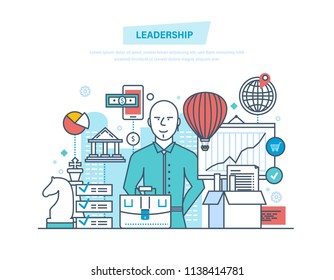 Leadership and leadership development, management, career growth, success in the work and learning, business, teamwork, achieving new heights. Illustration thin line design of doodles.