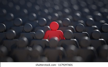Leadership, difference and standing out of crowd concept. 3D rendered illustration.