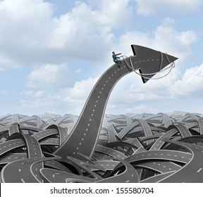Leadership direction guidance business concept with a group of tangled streets and highways and a businessman guiding and steering an arrow road using a harness towards a planned goal for success.