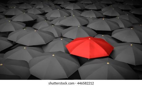Leadership or distinction concept. Red umbrella and many black umbrellas around. 3D rendered illustration.