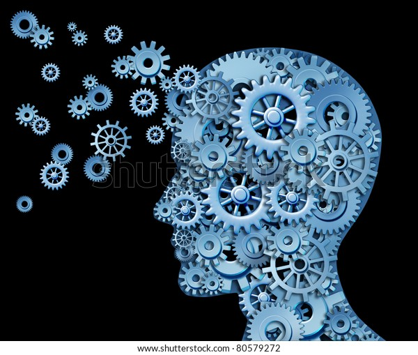 Leadership and education symbol represented by a human head shape with gears and cogs representing the concept of intellectual property being transferred and shared with others.