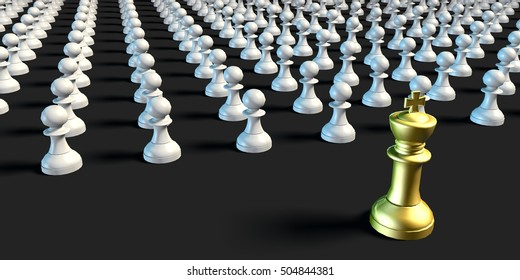 Leadership King Leading Pawns Chess Business Concept 3d Illustration Render