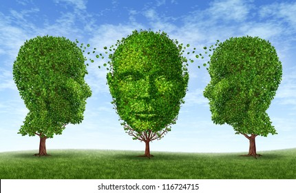 Leadership and learning concept as a business training symbol and growth education network with three trees as a shape of a human head exchanging content to acquire career skills for life success.