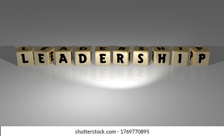 LEADERSHIP made by golden dice letters and color crossing for the related meanings of the concept. business and illustration. 3D illustration