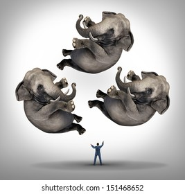 Leadership management business concept as a businessman juggler juggling three elephants up in the air as a symbol of managing power and being a strong leader and a metaphor for expertise and skill.