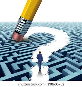 Leadership questions searching for solutions as a businessman walking through a complicated maze opened up by a pencil eraser question mark as a business concept of advice for financial success.