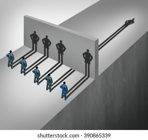 Leadership skill business concept as a group of people casting shadows stopping at a wall but one individual businessman has a shadow leap through the obstacle as an ability to succeed metaphor.
