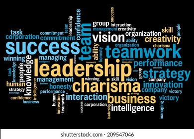 Leadership and teamwork word cloud illustration. Word collage concept.