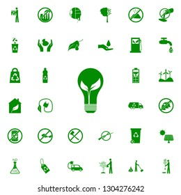leaf in a light bulb green icon. greenpeace icons universal set for web and mobile