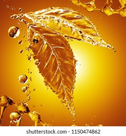 Leaf made of oil splash on gold background. 3d rendering