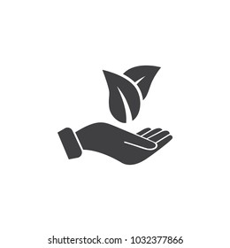 leaf on the hand icon on white background