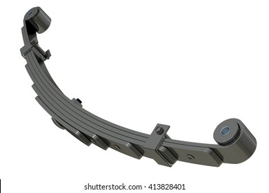 Leaf spring, suspension. 3D rendering isolated on white background