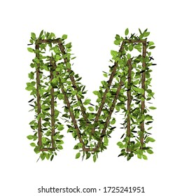 Leaf style letter m. 3D render of grass font isolated on white background