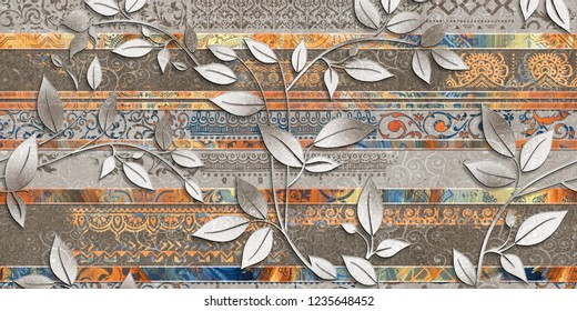 leaf wall tiles decor on brown colored marble for home or Random wall tiles Decor, wallpaper, linoleum, textile, web page background, Texture.