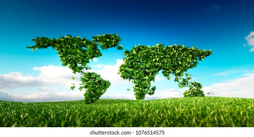 Leaf world map placed on fresh spring grass. Sustainable world developmet conceptual design. 3d Illustration.