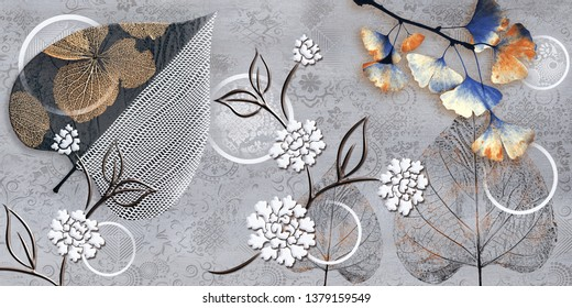 LEAF-Grey wall art Decor, Grey Colored Digital wall tiles Design for Home or abstract grey color wall decor, textile art.