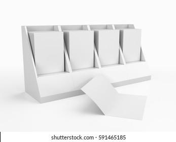 Leaflet or brochure holder container box. 3D rendering
