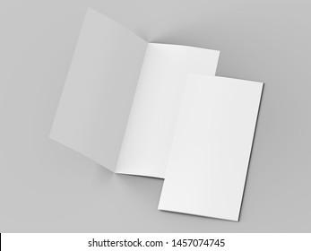 Leaflet folded to DL format - mock up - 3d illustartion