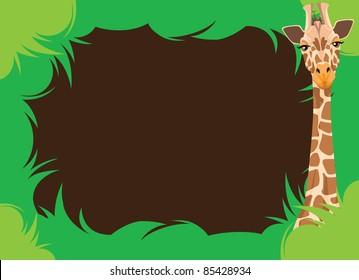 Leafy Border With Giraffe Illustration