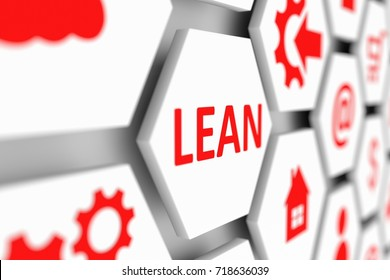 LEAN concept cell blurred background 3d illustration