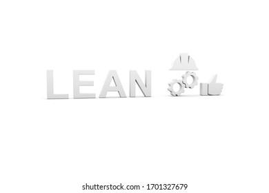 LEAN concept white background 3d render illustration