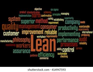 Lean - management approach, word cloud concept on black background.