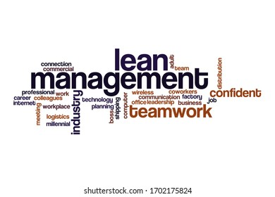 Lean management word cloud concept on white background
