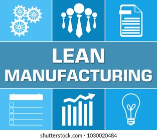 Lean manufacturing concept image with text and related symbols.