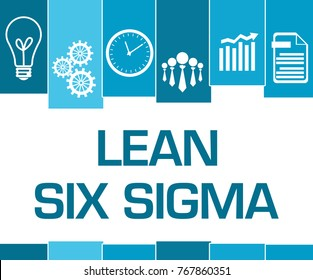 Lean six sigma concept image with text and related symbols.