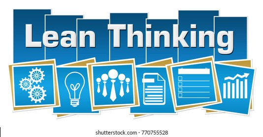 Lean thinking concept image with text and related symbols.