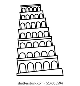 Leaning tower of Pisa icon. Outline illustration of leaning tower of Pisa  icon for web