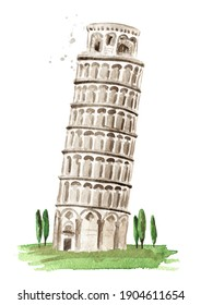 Leaning Tower of Pisa, Italian landmark. Hand drawn watercolor illustration isolated on white background
