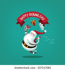 Leaping Santa wishing you a happy Boxing Day.