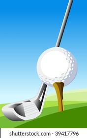 Learn the Basics of Golf An illustration of a golf ball sitting on a tee and a golf club