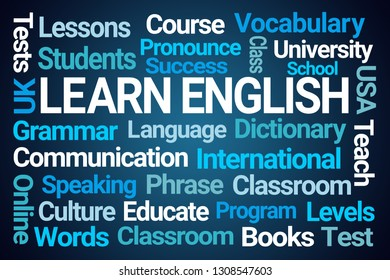 Learn English Word Cloud on Blue Background