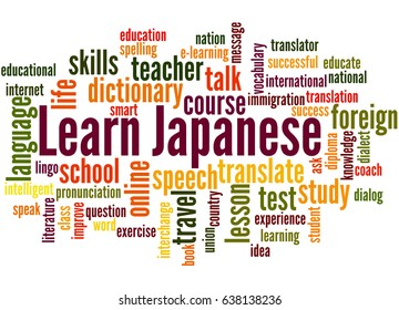 Learn Japanese, word cloud concept on white background.