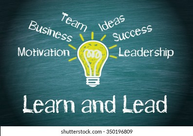 Learn and Lead Business Concept with light bulb and text on green background