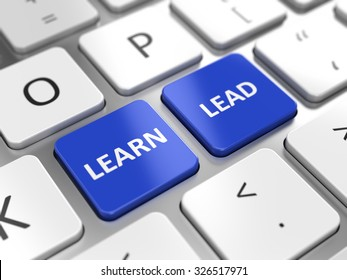 Learn and Lead concept - Learn and Lead key on a computer keyboard