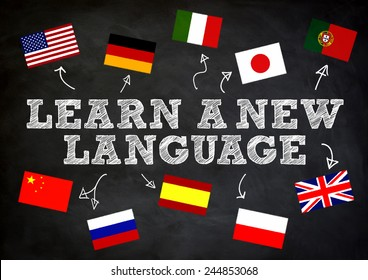 LEARN A NEW LANGUAGE wriite concept on chalkboard