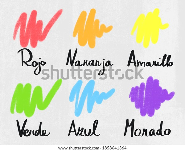 learn spanish worlds colors - red, orange, yellow, green, blue and purple. online Education on elementary or high school for children.