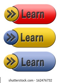 learn and study and find info icon, button or information sign. Online education and learning. Search and find knowledge online.