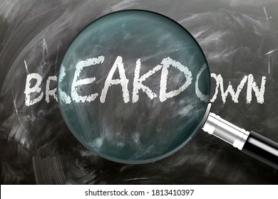 Learn, study and inspect breakdown - pictured as a magnifying glass enlarging word breakdown, symbolizes researching, exploring and analyzing meaning of breakdown, 3d illustration
