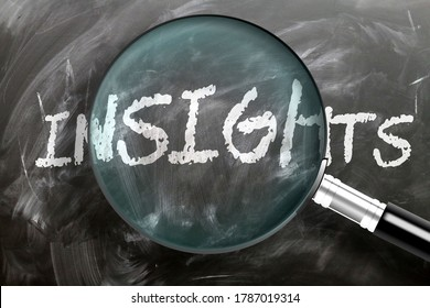 Learn, study and inspect insights - pictured as a magnifying glass enlarging word insights, symbolizes researching, exploring and analyzing meaning of insights, 3d illustration