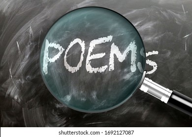 Learn, study and inspect poems - pictured as a magnifying glass enlarging word poems, symbolizes researching, exploring and analyzing meaning of poems, 3d illustration