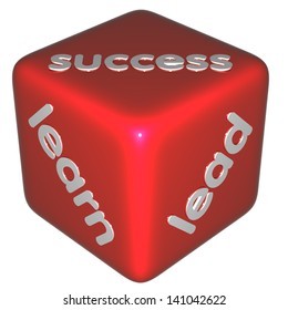 learn, success, lead. red dice with words isolated on white