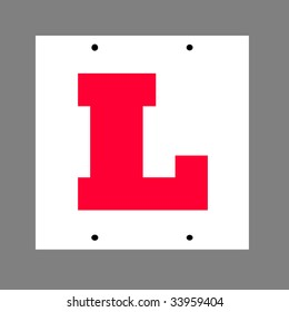 "Learner driver, ""L"" license plate, isolated on plain background."